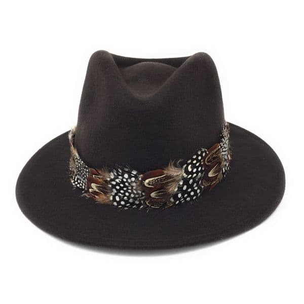 Womens Showerproof Wool Brown Fedora Hat with Country Feather Wrap Trim - Chadlington